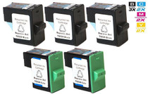 Compatible Dell T0529 & T0530 Ink Remanufactured Cartridge 5 Set (3 Black and 2 Tri Color)