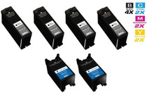 Dell X737N & X738N Ink Remanufactured Cartridge High Yield 6 Set (4 Black and 2 Tri Color)