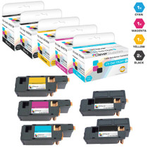 Compatible Dell Laser Toner Cartridges 2 Black and CMY - 5 Color Set (XKP2P/ YX24V/ MHT79/ J95NM)