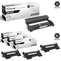 Compatible Brother DR420-TN420 Black Drum and 3 Toner Cartridges Set