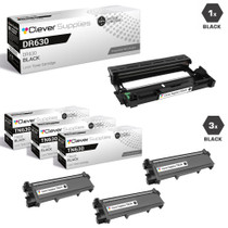 Brother DR630-TN630 Compatible Black Drum and 3 Toner Cartridge Set