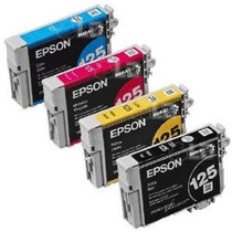 Compatible 4-Pack: Black/ Cyan Magenta & Yellow Epson 125 Standard-Capacity Ink Remanufactured Cartridges/ T125120/ T125220/ T125320/ T125420