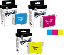 Compatible 3-Pack: Cyan/ Magenta & Yellow Epson 125 Standard-Capacity Ink Remanufactured Cartridges/ T125220/ T125320/ T125420