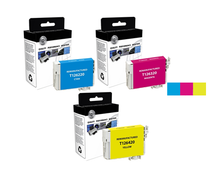 3-Pack: Cyan/ Magenta & Yellow Epson 126 High-Capacity Ink Remanufactured Cartridges/ T126220/ T126320/ T126420