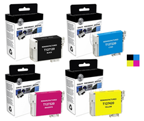 Compatible 4-Pack: Black/ Cyan Magenta & Yellow Epson 127 Extra High-Capacity Ink Remanufactured Cartridges/ T127120/ T127220/ T127320/ T127420
