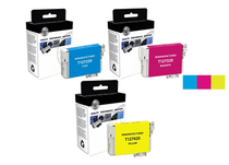Compatible 3-Pack: Cyan/ Magenta & Yellow Epson 127 Extra High-Capacity Ink Remanufactured Cartridges/ T127220/ T127320/ T127420