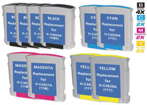 CS Compatible Replacement for HP 10 & 11 Ink Cartridges Remanufactured 10 Color Set (C4844A/ C4836AN/ C4837AN/ C4838AN)