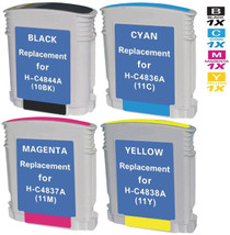 CS Compatible Replacement for HP 10 & 11 Ink Cartridges Remanufactured 4 Color Set (C4844A/ C4836AN/ C4837AN/ C4838AN)
