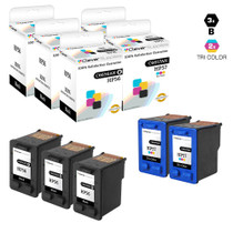 HP C6656A/ C6657A (HP-56 & 57) Premium OEM Quality Ink Cartridge Remanufactured 3 Black and 2 Tri Color - 5 Pack
