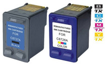 CS Compatible Replacement for HP C8727A/ C8728A (HP-27 & 28) Ink Cartridge Remanufactured Black and Tri Color - 2 Pack