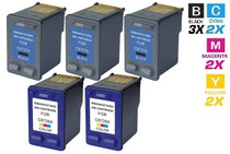 CS Compatible Replacement for HP C8727A/ C8728A (HP-27 & 28) Ink Cartridge Remanufactured 3 Black and 2 Tri Color - 5 Pack