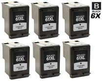 HP CH563WN (HP-61XL) Ink Cartridge Remanufactured High Yield 6 Pack Black