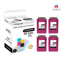 CS Compatible Replacement for HP CH564WN (HP-61XL) Ink Cartridge Remanufactured High Yield 4 Pack Tri Color