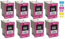 HP CH564WN (HP-61XL) Ink Cartridge Remanufactured High Yield 8 Pack Tri Color