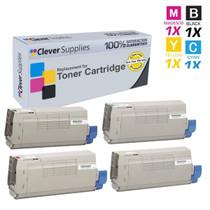 Compatible Okidata C711DTN Premium Quality Laser Toner Cartridges 4 Color Set