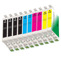 10 PACK : EPSON T060 COMPATIBLE SERIES INCLUDES - 4 BLACK/ 2 CYAN/ 2 MAGENTA/ 2 YELLOW