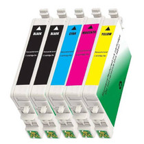 5 PACK : EPSON T060 COMPATIBLE SERIES INCLUDES - 2 BLACK/ 1 CYAN/ 1 MAGENTA/ 1 YELLOW