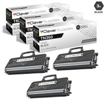 Compatible Brother TN360 Laser Toner Cartridge High Yield Black 3 Pack