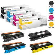 Compatible Brother TN115 Toner Cartridge 4 Color Set-(TN115BK/ TN115C/ TN115M/ TN115Y) 1
