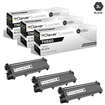 Compatible Brother TN660 Toner Cartridge High Yield Black 3 Pack