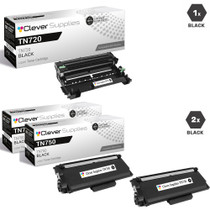 Brother TN750-DR720 2 Pack High Yield Laser Toner and 1 Drum Unit Compatible Cartridge Set