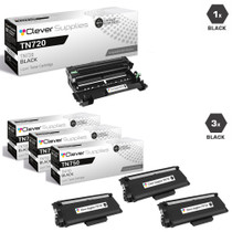 Compatible Brother TN750-DR720 3 Pack High Yield Laser Toner and 1 Drum Unit Cartridge Set