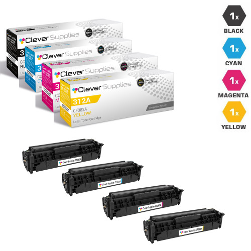 HP 312A & 312X Toner Cartridge 4 Color Set (CF380X/ CF381A/ CF383A/ CF382A)