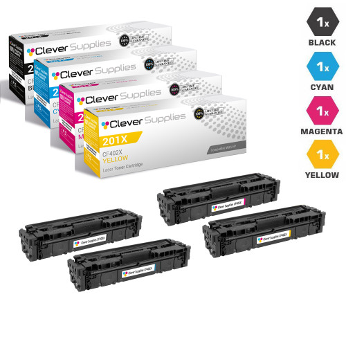 CS Compatible Replacement for HP 201X Laser Toner Cartridges High Yield 4 Color Set (CF400X/ CF401X/ CF403X/ CF402X)