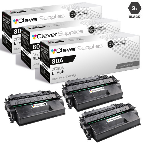 CS Compatible Replacement for HP CF280A Premium Quality Toner Cartridge Black 3 Pack/ HP 80A