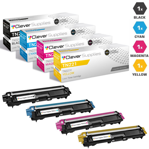 Compatible Brother TN221-TN225 Premium Quality Laser Toner Cartridge High Yield 4 Color Set (TN221BK/ TN225C/ TN225M/ TN225Y)