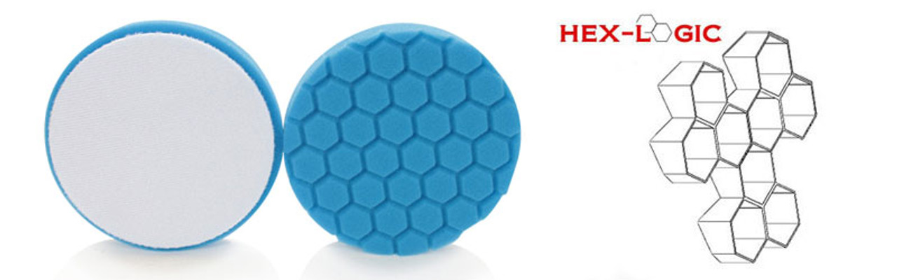 """Chemical Guys 6.5"""" HEX LOGIC Pad BLUE LIGHT CLEANING, GLAZES AND GLOSS ENHANCING PAD (6.5""""inch)"""