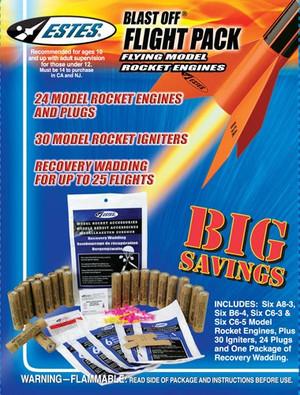 Blast-Off Flight Pack (6 ea.-A8-3,B6-4,C6-3,&C6-5) Flying Model Rocket Engines - Estes 1672