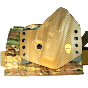 Custom Kydex Drop Leg Holster - Coyote w/Multicam Panel