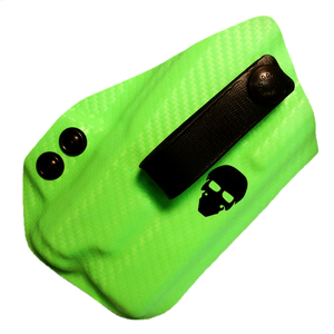 Short Order Appendix (AIWB) Holster with Light Attachement - The Alpha-Lima - Front - Zombie Green Carbon Fiber