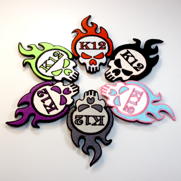 "K12 Logo Patch Baller Pack - Includes Miami Vice, ""Murdered Out"", Black, Toxic, Red, and Purple Drank colors."