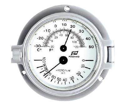 """Plastimo 3"""" Thermometer-Hygrometer Hinged Matt Chrome"""