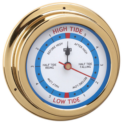 RWB  Tide Clock Brass/Chrome 120mm
