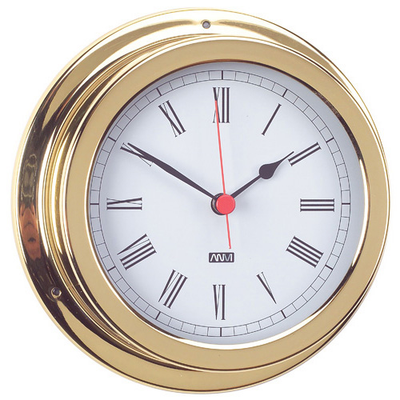 RWB Clock Brass/Chrome Standard Roman Numerals 120mm