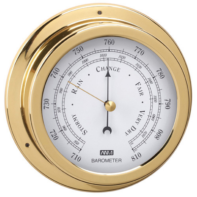 RWB Barometer Brass/Chrome 120mm