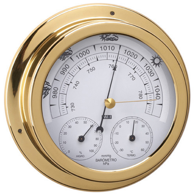 RWB Barometer, Thermometer & Hygrometer Brass/Chrome 120mm