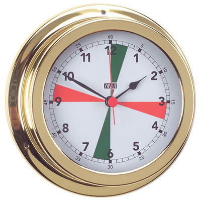 RWB Clock Radio Silence Zone Brass/Chrome 120mm