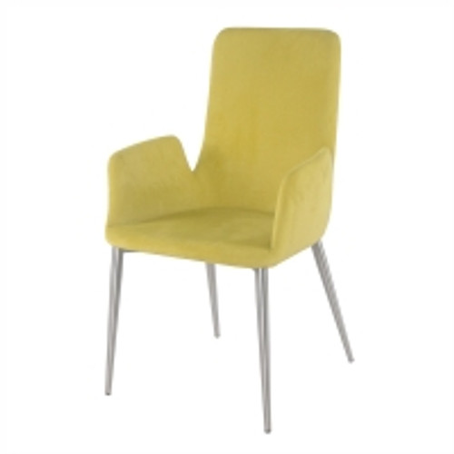 Kenley KD Fabric Arm Dining Chair Brushed Stainless Steel Legs, Citrine