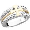 14KT Yellow Gold, White Gold & Genuine Diamond Men's Greek Cross Wedding Ring
