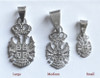 "Sterling Silver 4Cs Serbian Grb Pendant- 1 3/8""- LARGE"