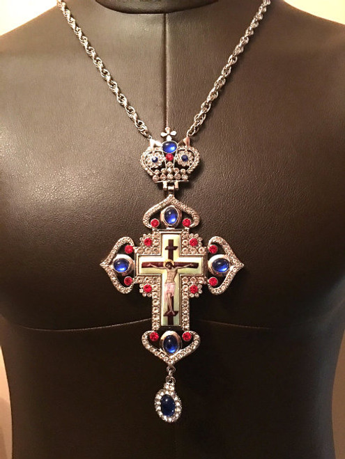 Gold Plated Pectoral Cross with Rhinestones and Jewels