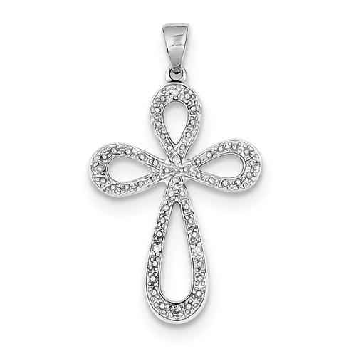 "Sterling Silver Rhodium Plated Diamond Cross Pendant- 1 1/8"""