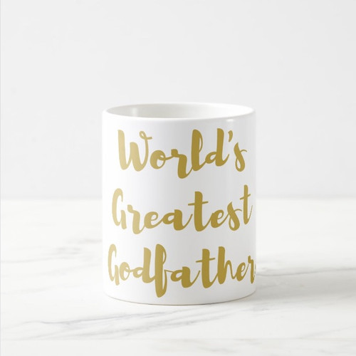 World's Greatest Godfather Coffee Mug in Gold or Silver Metallic Foil