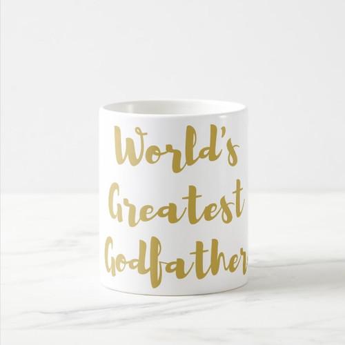 World's Greatest Godfather Coffee Mug in Gold or Silver Metallic Foil