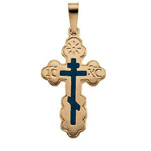 14KT St. Olga Style Cross with Blue Enamel- Small- FREE 2DAY SHIPPING!*