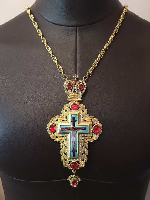 Gold Plated Pectoral Cross with Red Jewels